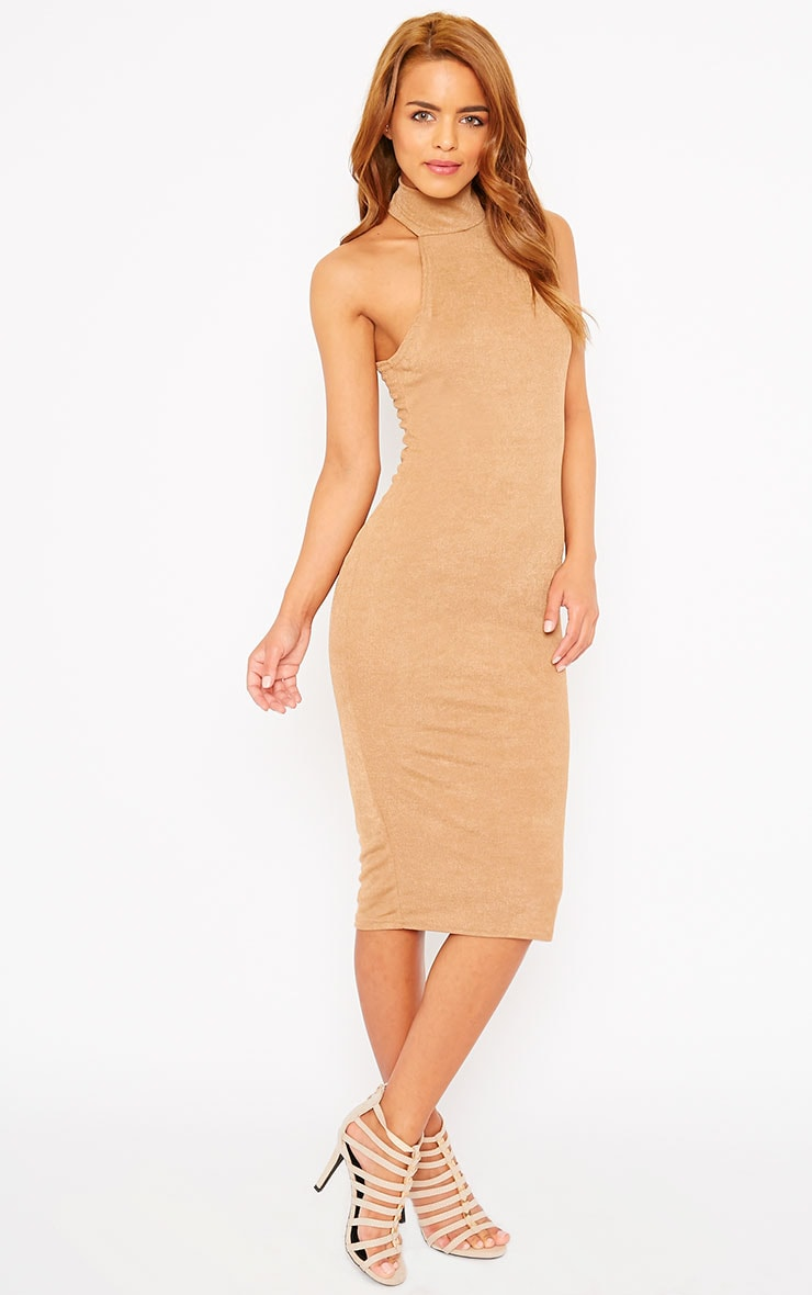 Sara Camel Polo Neck Midi Dress 3
