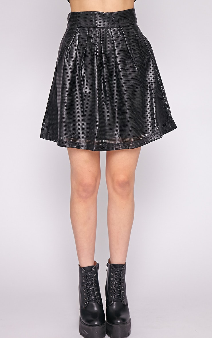 Farah Leather Perforated Skater Skirt-M 2