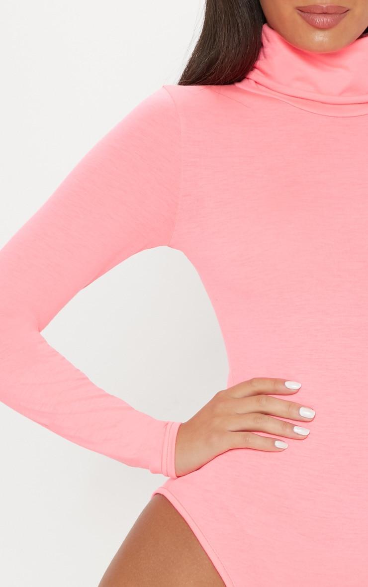 Neon Pink Roll Neck Long Sleeve Bodysuit 6
