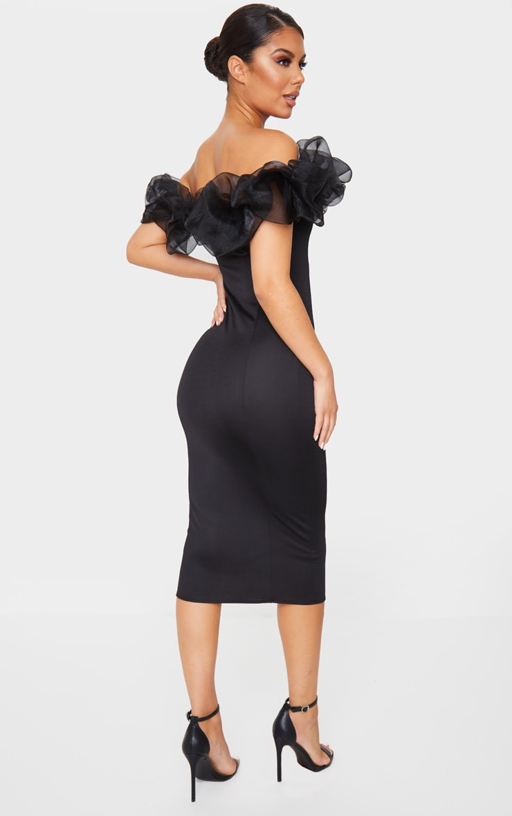 Black Organza Ruffle Bardot Midi Dress 2