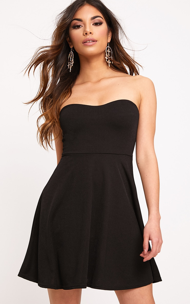 Black Bandeau Skater Dress 1
