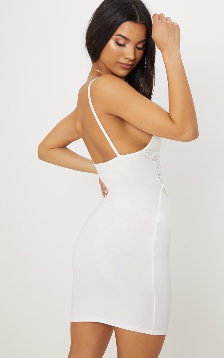 White Crochet Trim Bodycon Dress 2