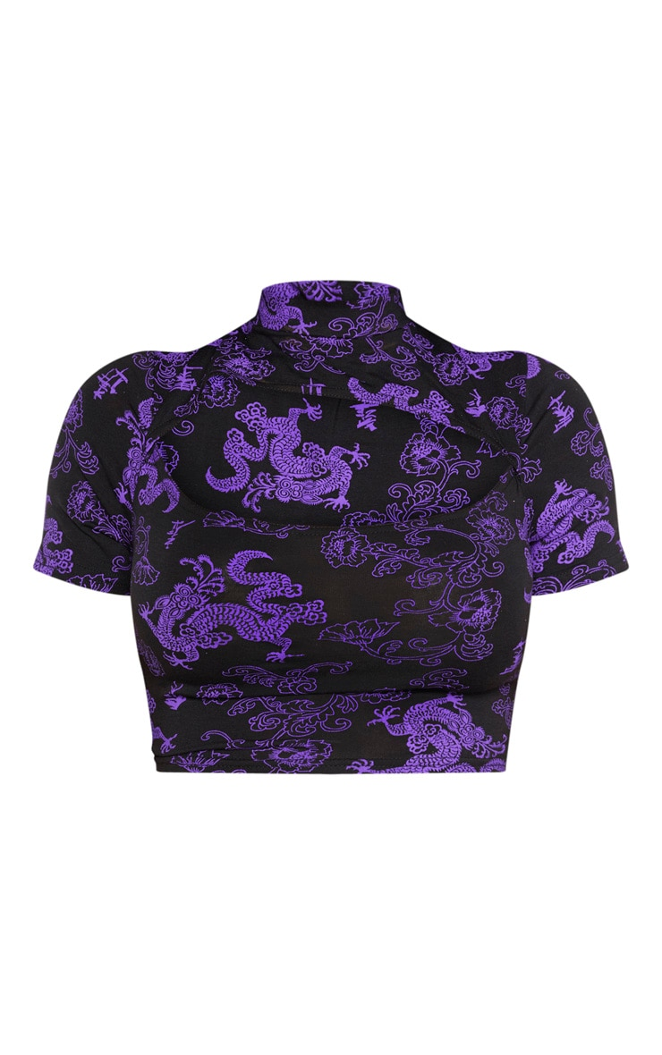 Shape Purple Dragon Print Cut Out Crop Top 3
