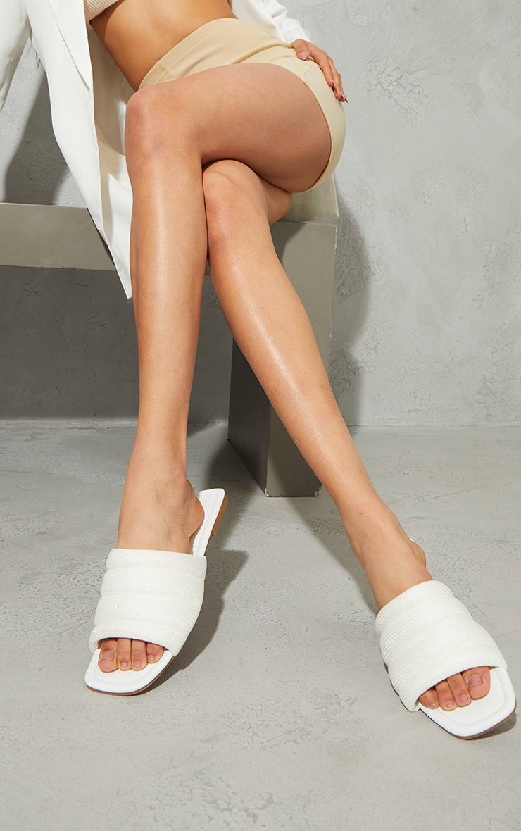 White Netted Quilted Square Toe Sandals