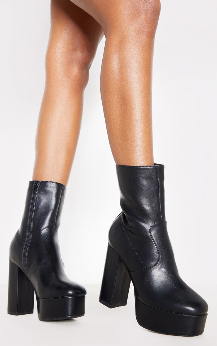 Black High Platform Ankle Boots 1