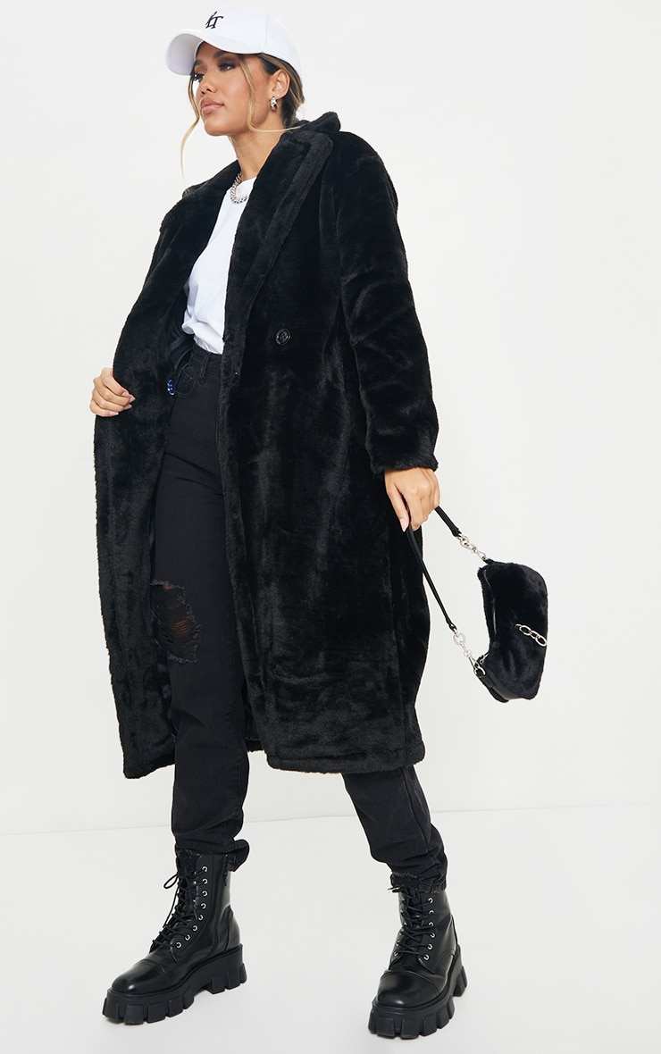 Black Large Lapel Midaxi Faux Fur Coat 3