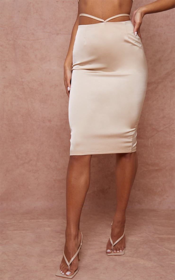 Champagne Woven Tie Waist Midi Skirt 2