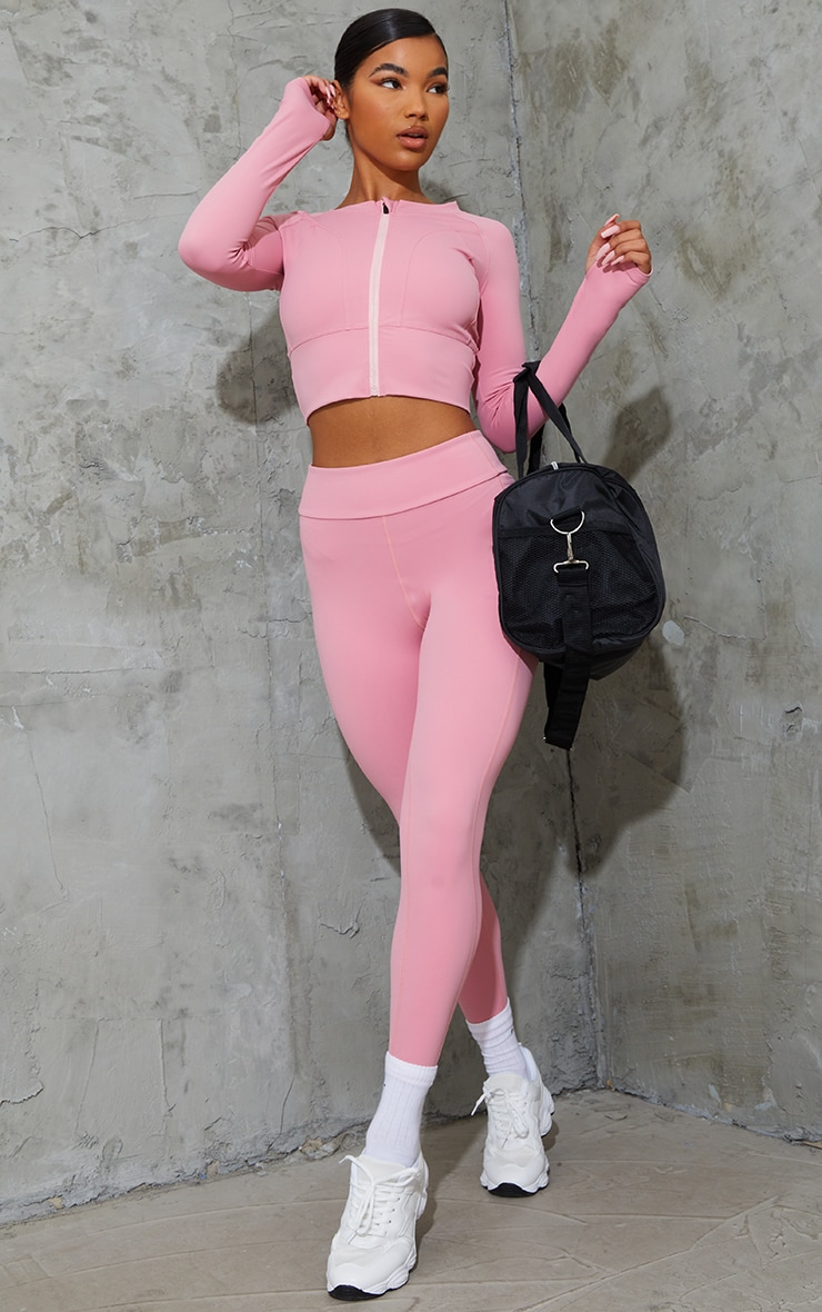 Hot Pink Zip Up Cropped Sports Jacket 3