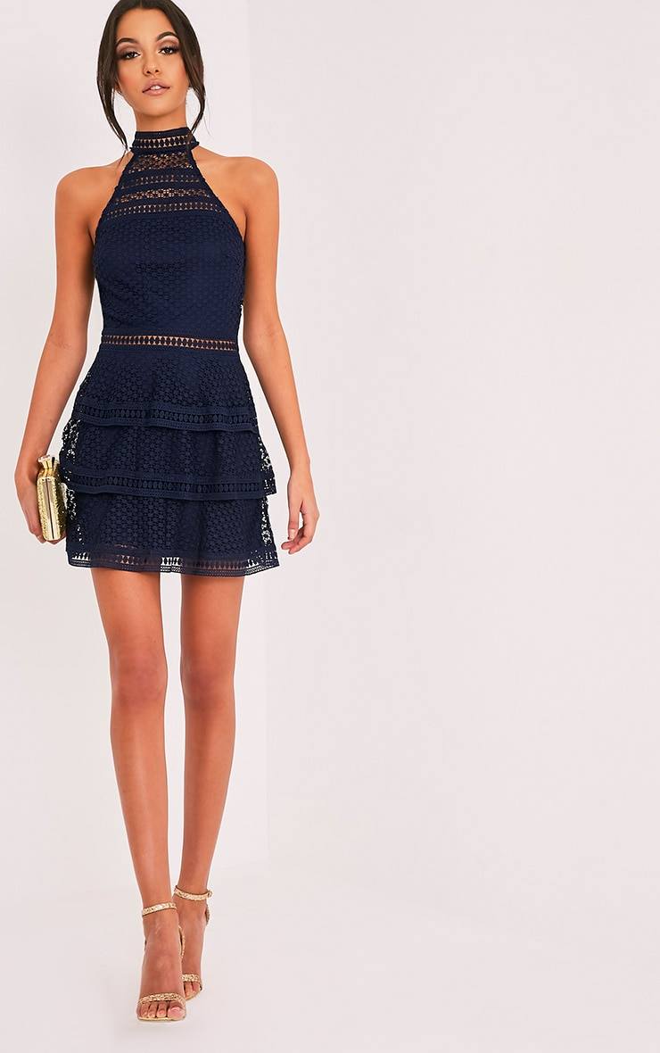 Navy Lace Panel Tiered Bodycon Dress 5