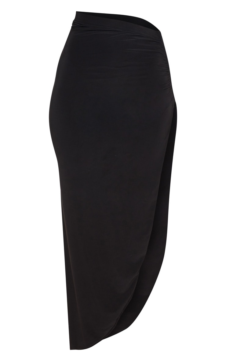 Black Ruched Side Split Midaxi Skirt 3
