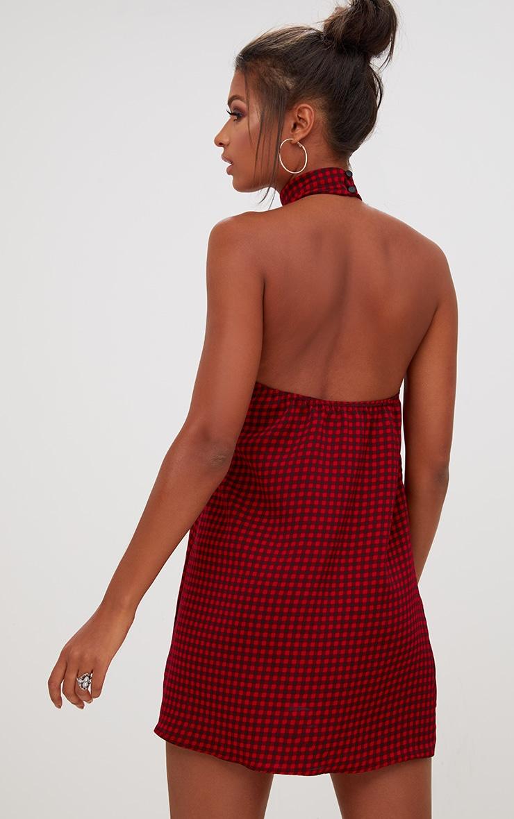 Red Check Halter Neck Shift Dress 2