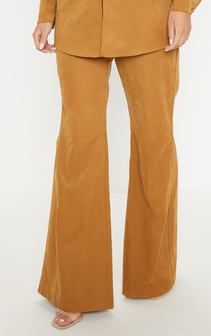 Tan Faux Suede Wide Leg Trouser 2