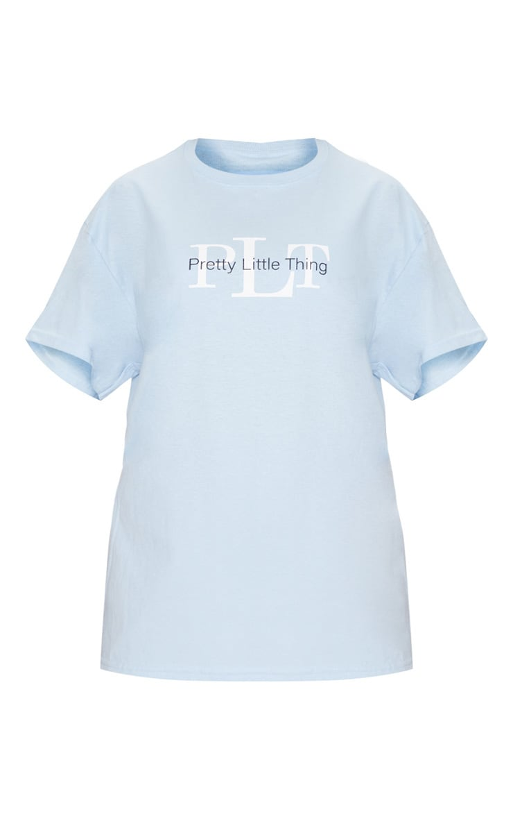 PRETTYLITTLETHING Light Blue Oversized Slogan T Shirt 3