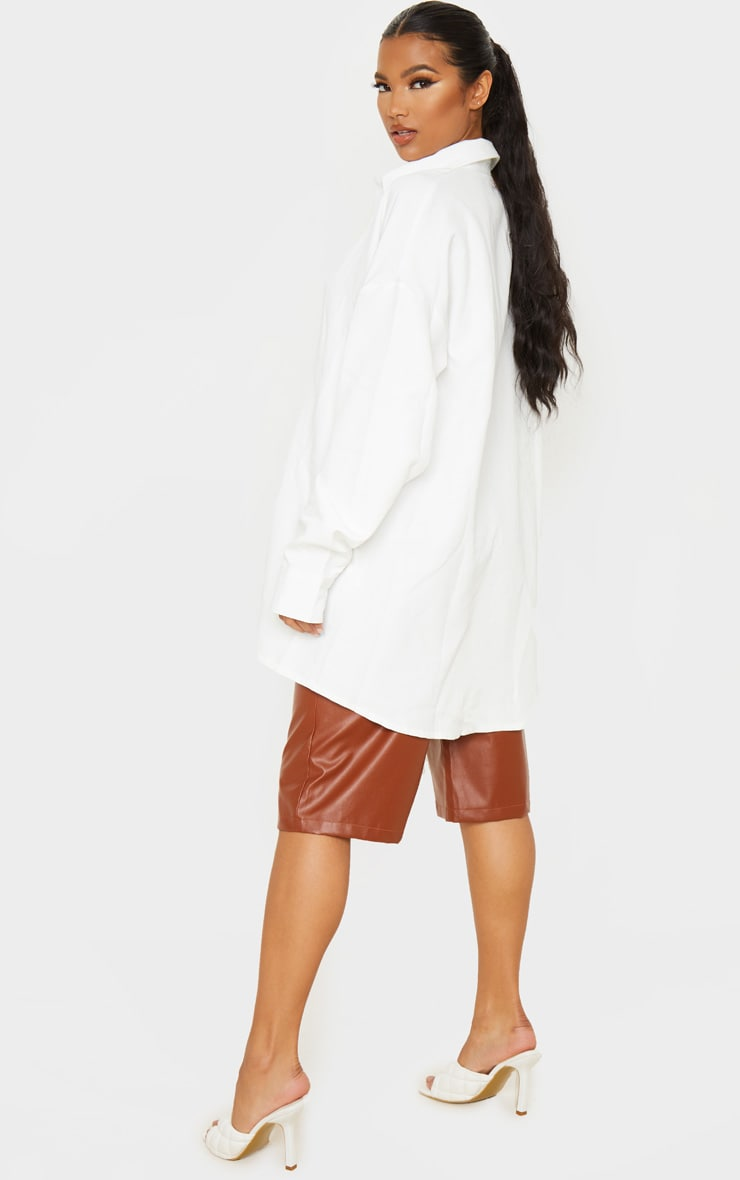 White Oversized Long Line Shirt 2