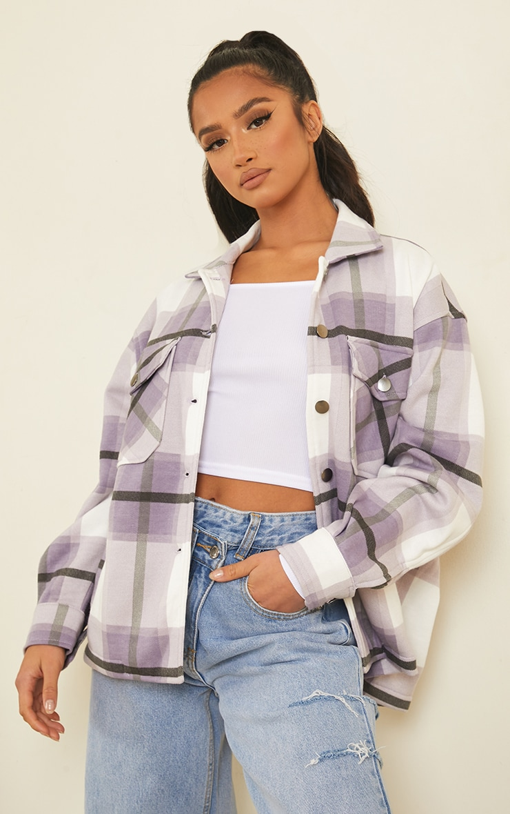 Petite Purple  Checked Pocket Front Shacket 1