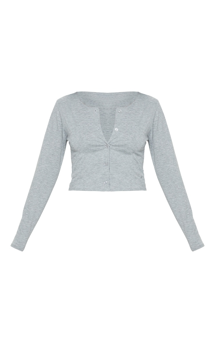 Grey Long Sleeve Button Front Crop Top 5