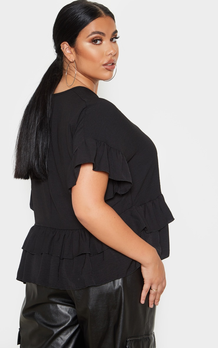 Plus Black Frill Detail Blouse  2