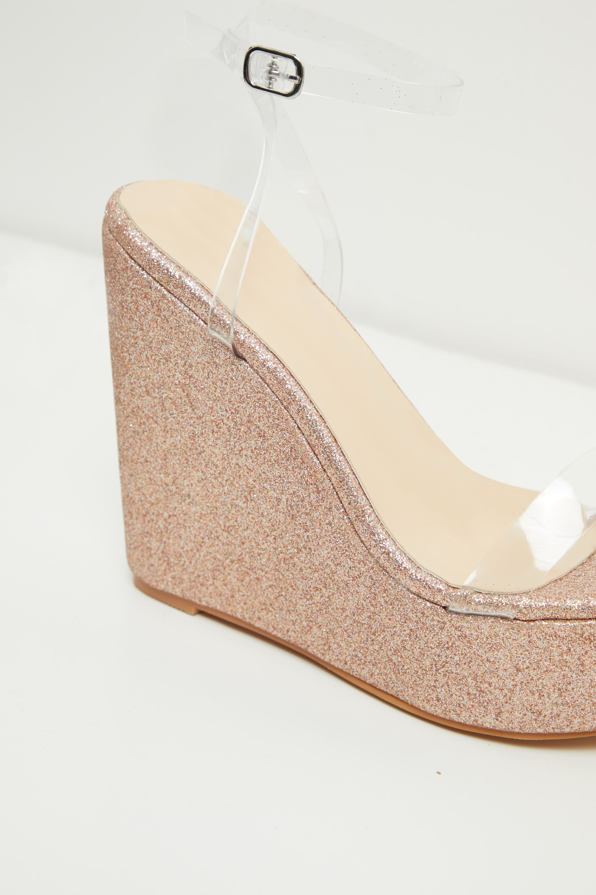 Rose Gold Glitter Clear Strap Wedges 4