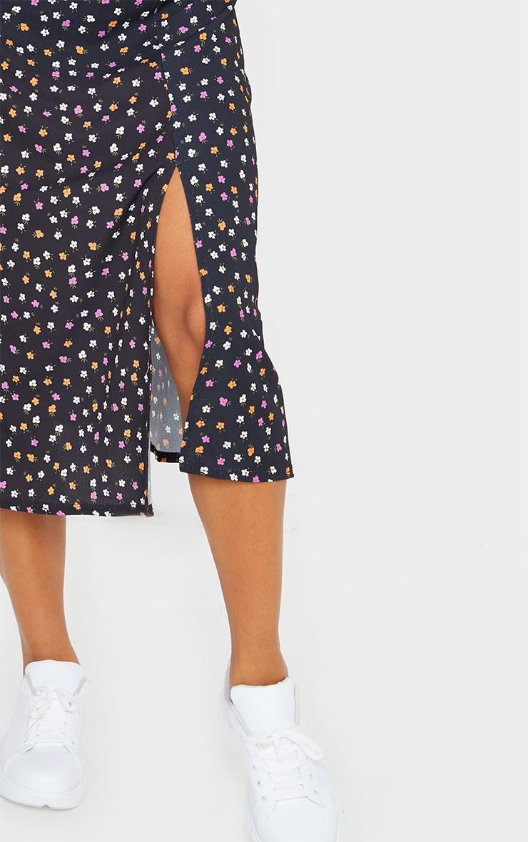 Black Floaty Ditsy Floral Print Midi Skirt 4