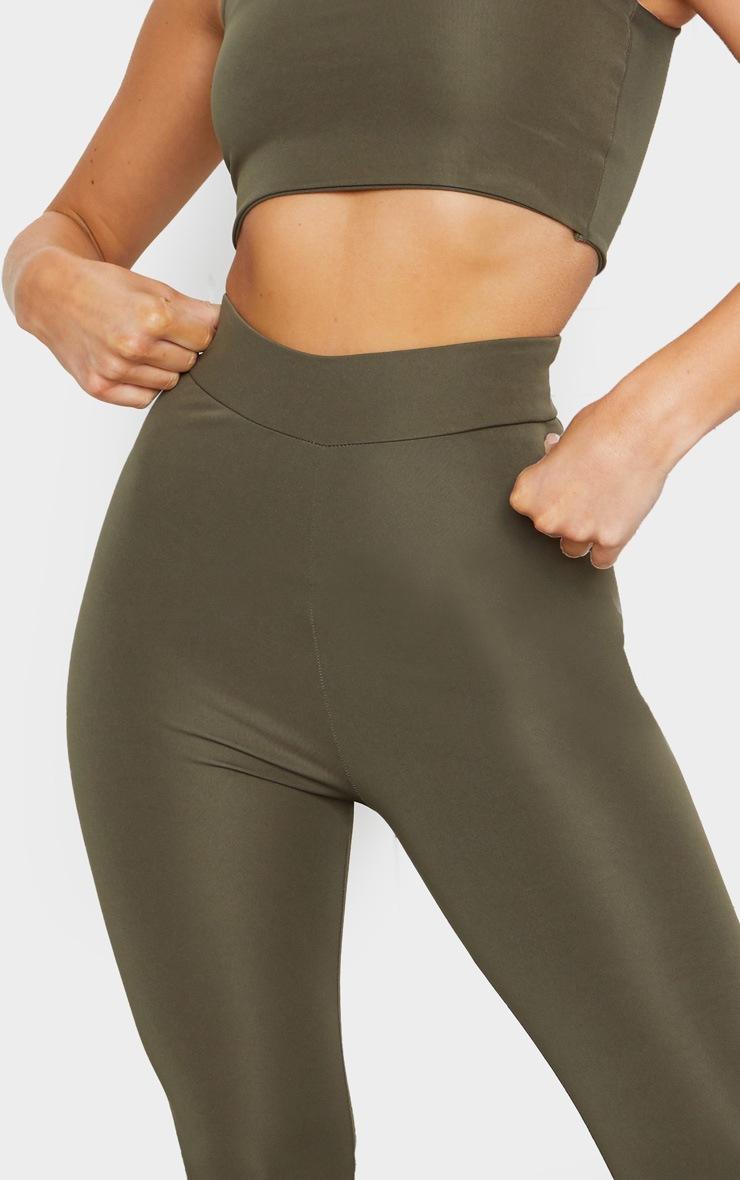 Khaki Basic Cropped Gym Leggings 4