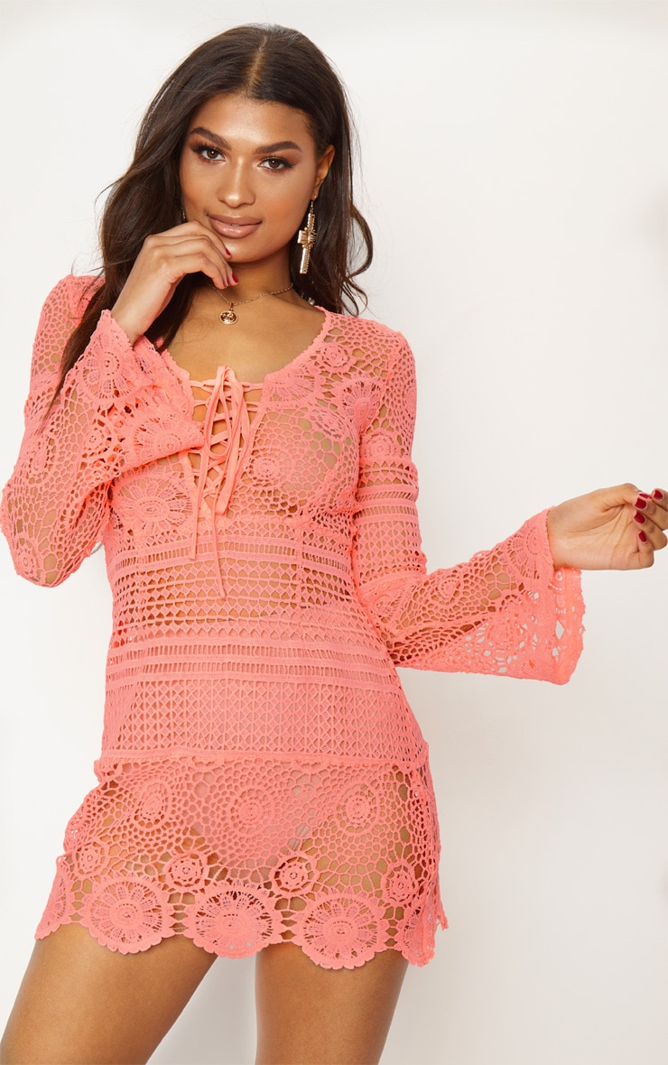 Neon Pink Tie Front Flare Sleeve Crochet Lace Shift Dress 2