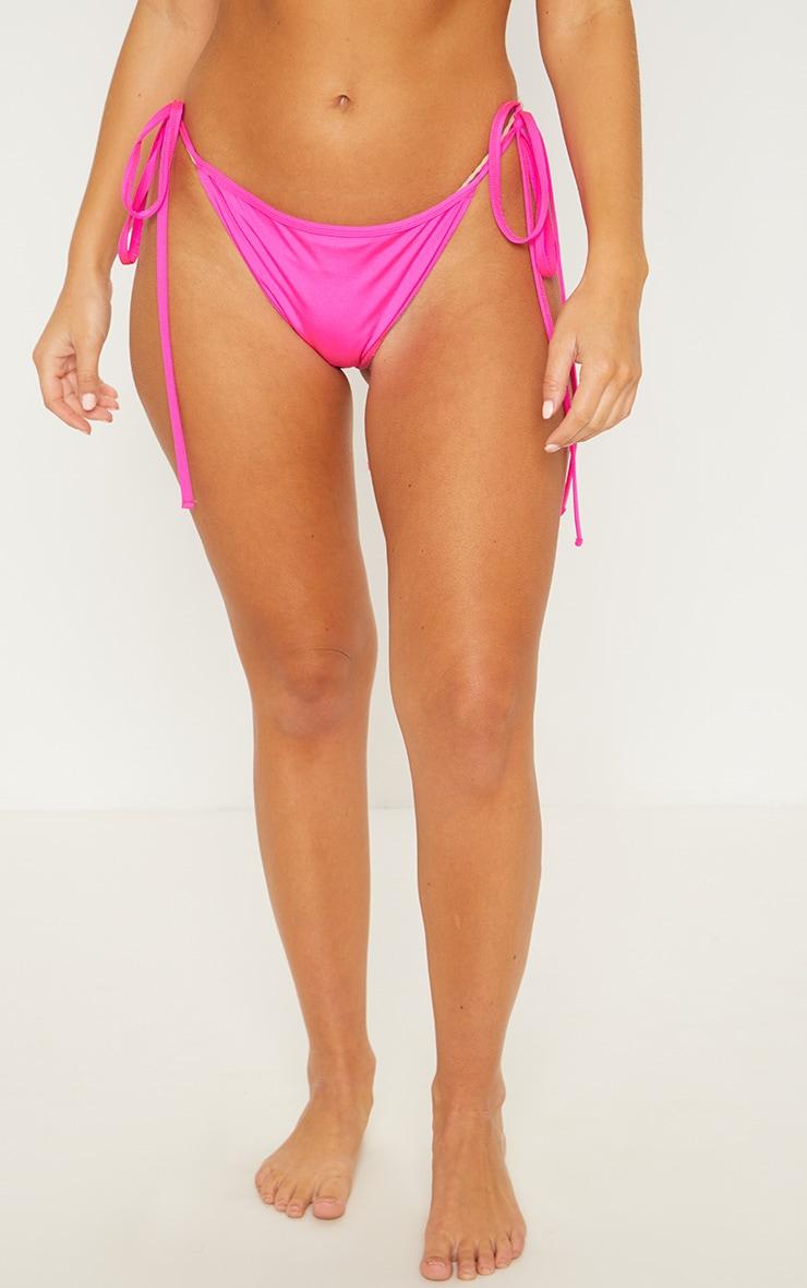 Pink Mix & Match Tie Side Bikini Bottom 2