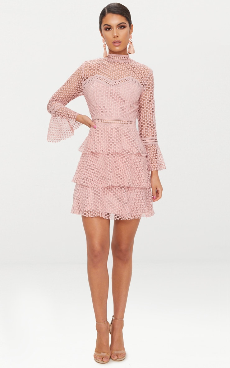 Dusty Pink Flare Sleeve Lace Tiered Mini Dress  4