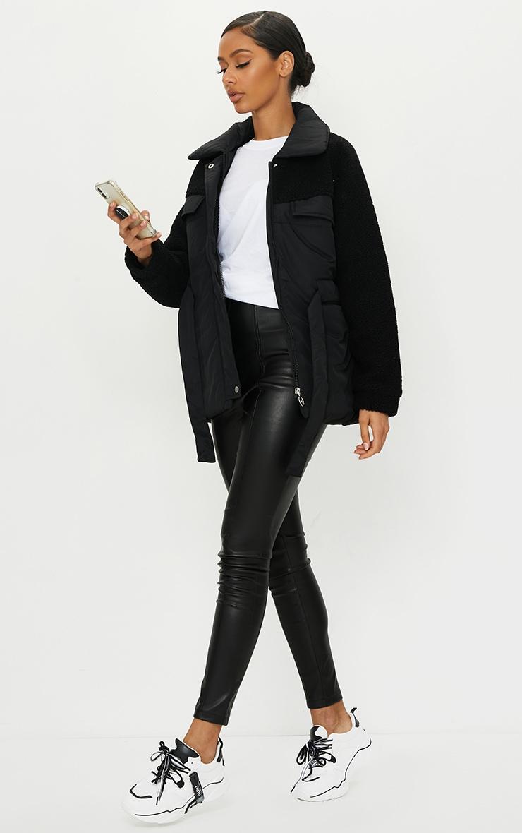 Black Nylon Contrast Borg Cinched Waist Puffer Jacket 3