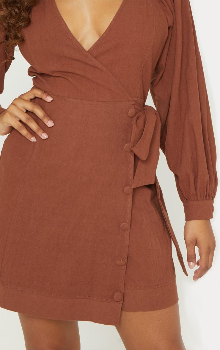 Tall Chocolate Brown Woven Puff Sleeve Button Detail Shift Dress 5