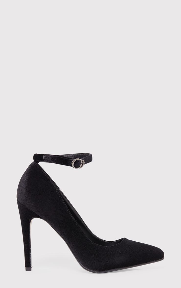 Demmi Black Velvet Strap Court Shoes 1