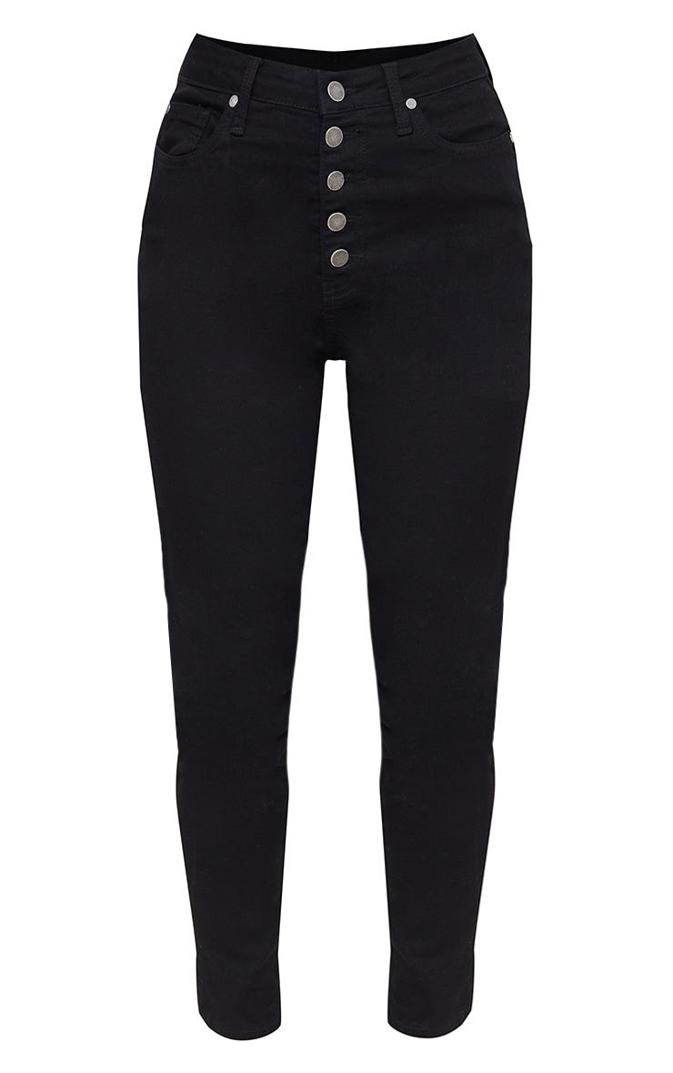 Jean skinny taille haute à 5 poches noir 5