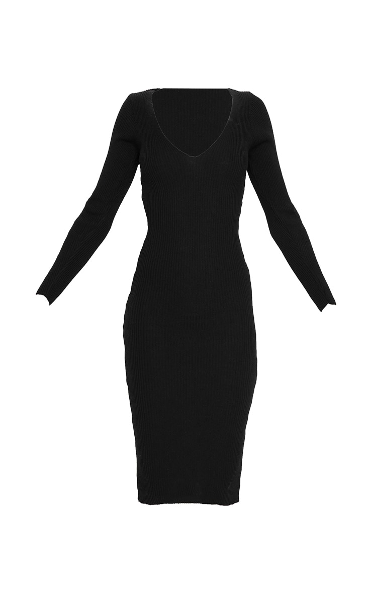 Black V Neck Knitted Midi Dress 3