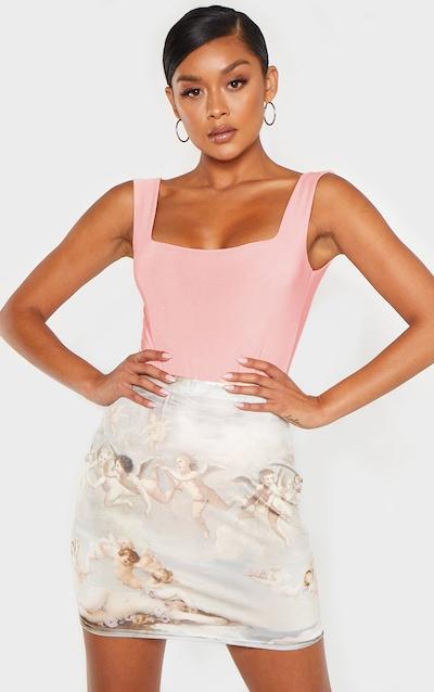 Peach Second Skin Square Neck Sleeveless Thong Bodysuit