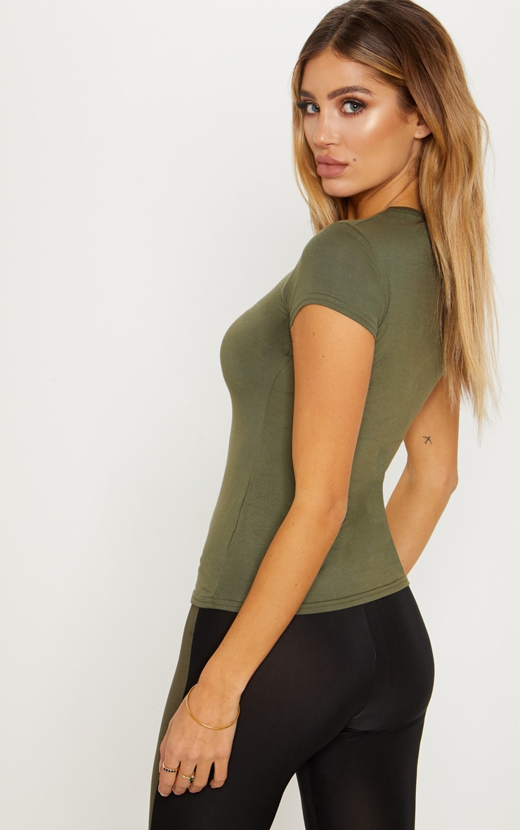 Khaki Basic Crew Neck Fitted T Shirt 2