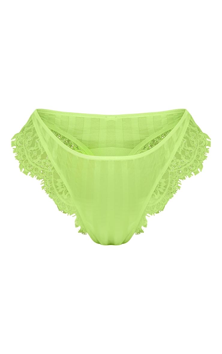 Plus Lime Striped Lace High Leg Thong 5