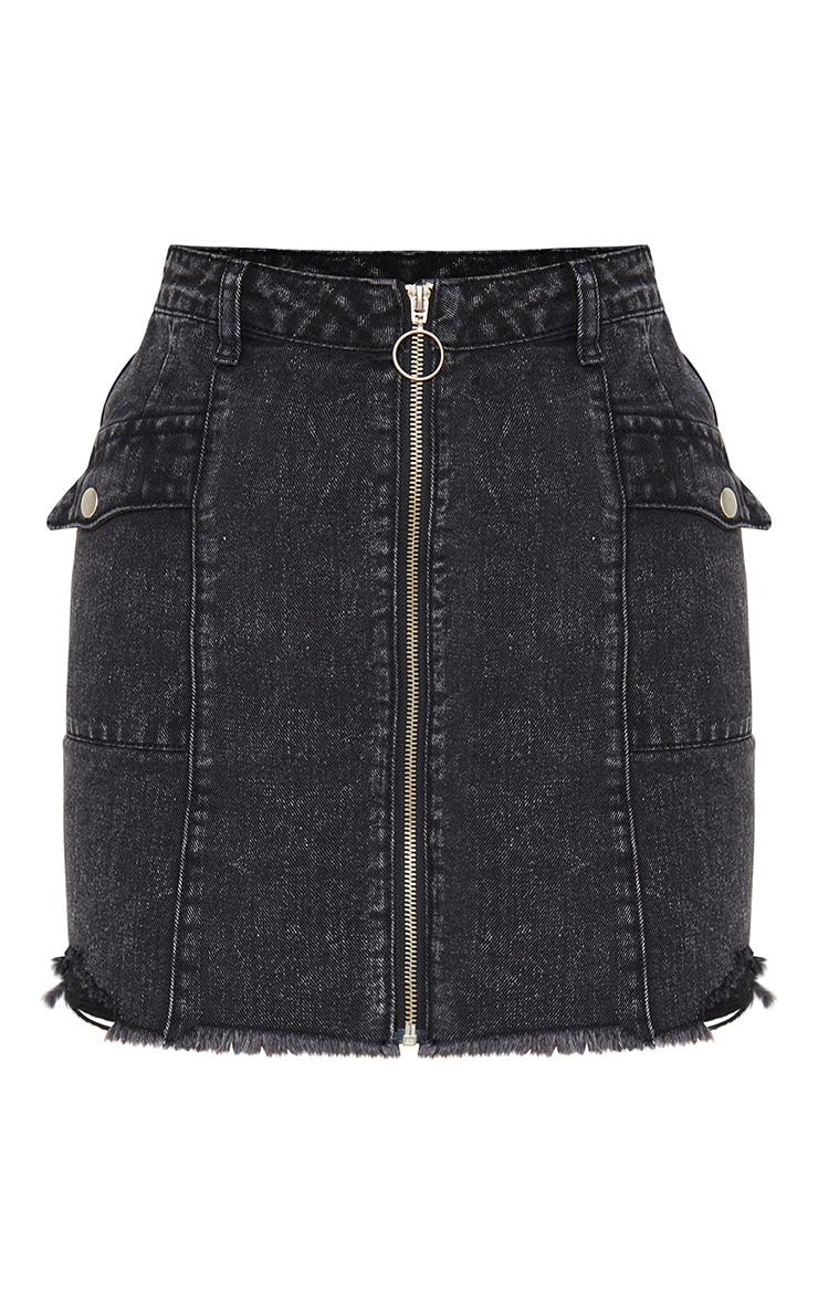 Washed Black Zip Through Double Pocket Denim Skirt 7