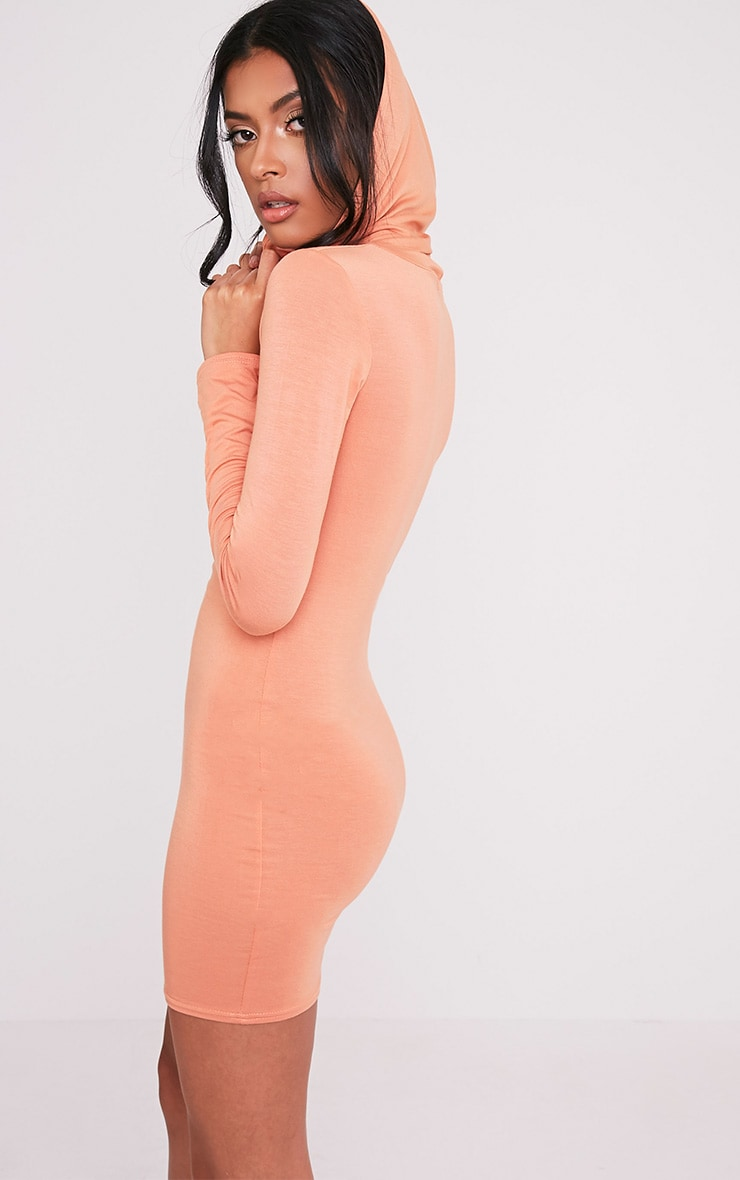 Jessie Deep Peach Hooded Bodycon Dress 1