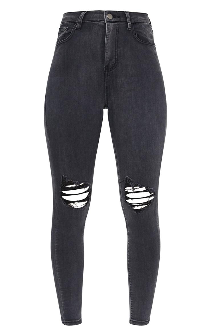 PRETTYLITTLETHING Washed Black Knee Rip 5 Pocket Skinny Jean 5