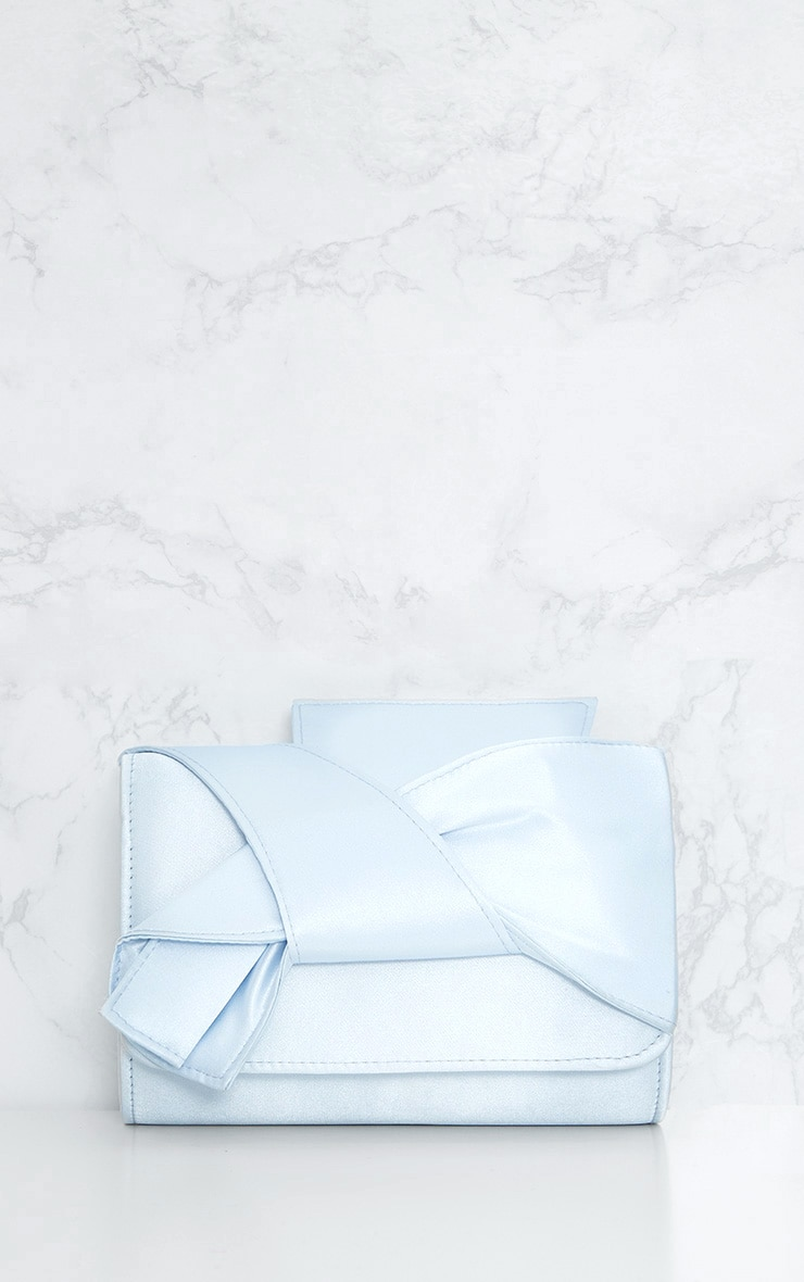 Dusty Blue Satin Bow Bag 3