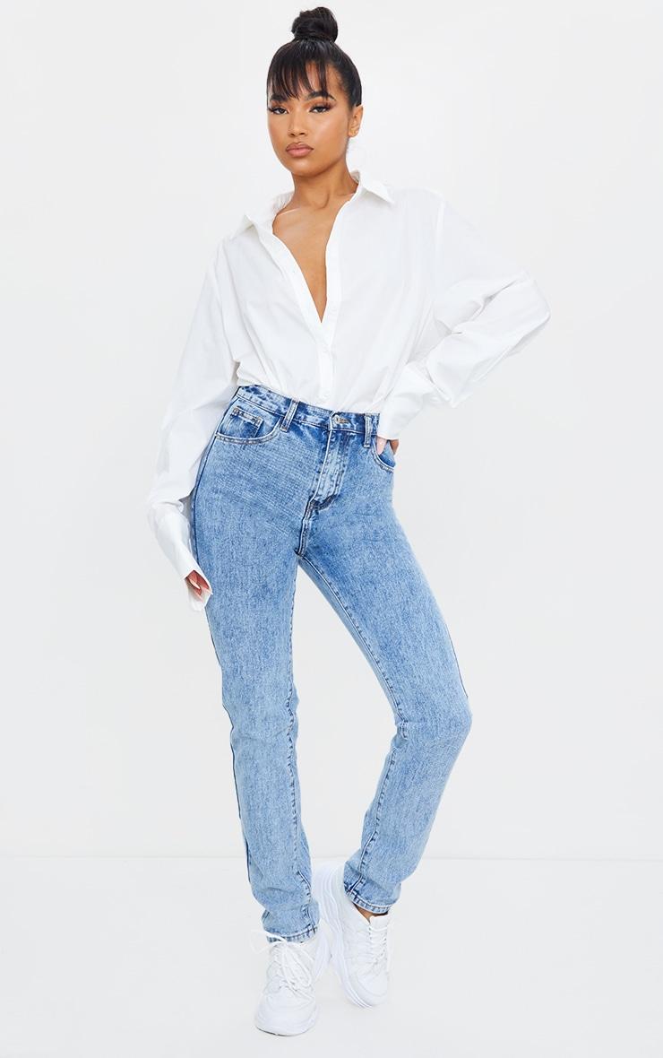 Light Blue Acid Wash Long Leg Rigid Skinny Jeans 1
