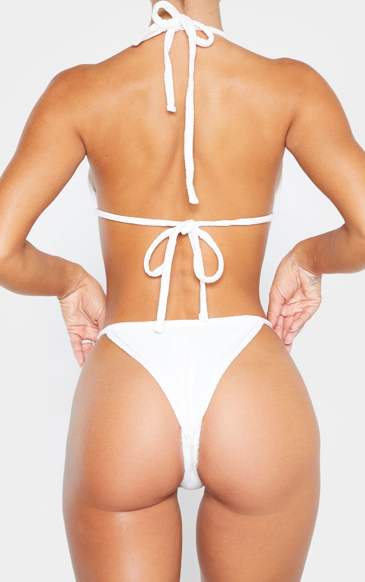 Cream Soft Crinkle Bikini Tie Side Bottom 3