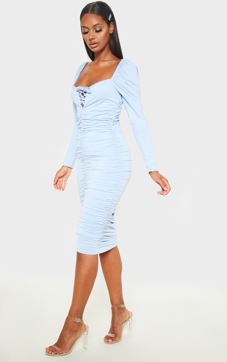 Baby Blue Square Neck Lace Up Ruched Midi Dress 4