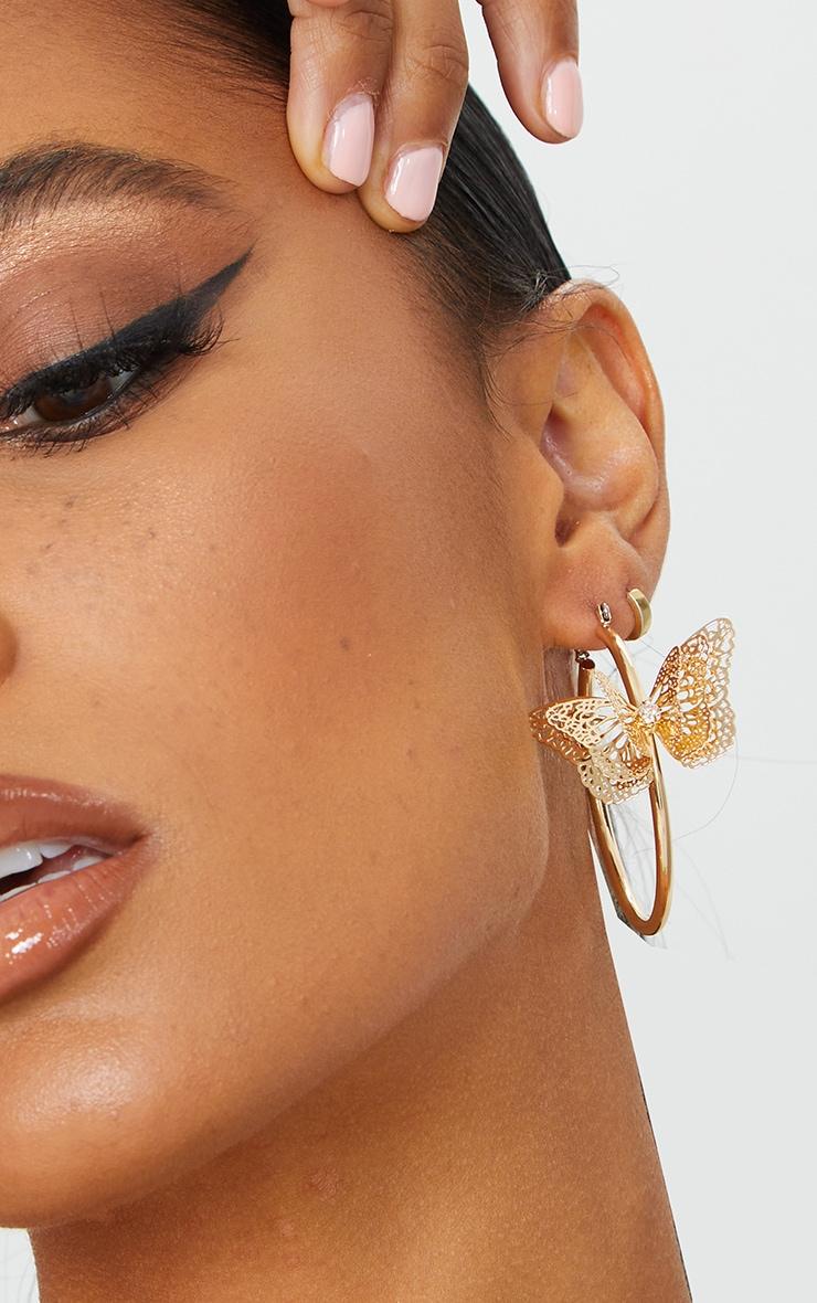 Gold Butterfly Medium Hoop Earrings 1