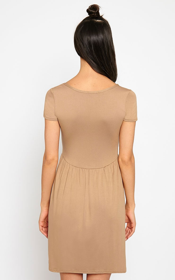 Basic Camel Skater Dress 2
