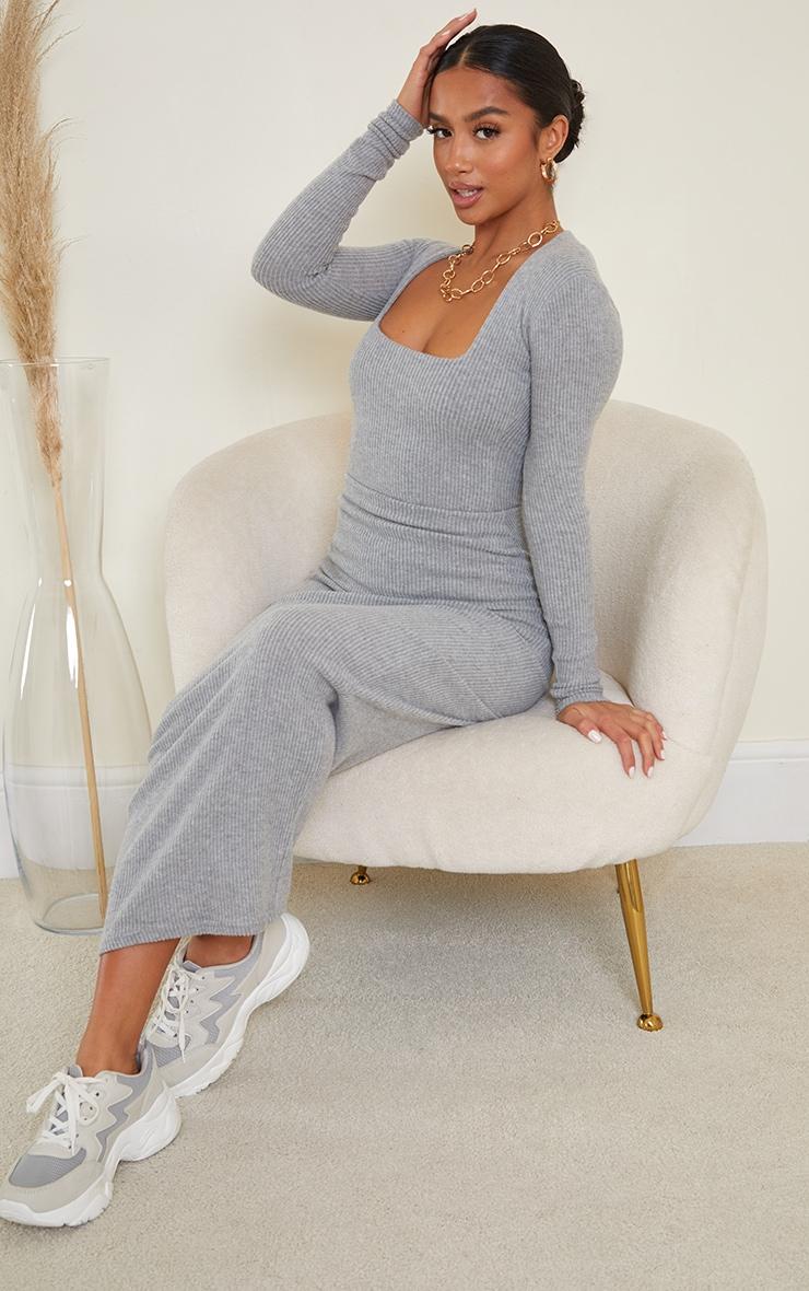 Petite Grey Brushed Rib Long Sleeve Square Neck Bodysuit 3