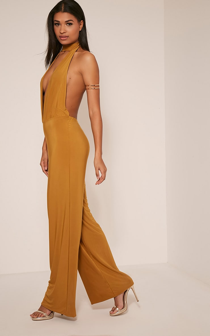 Laurie Gold Backless Choker Detail Slinky Jumpsuit 5