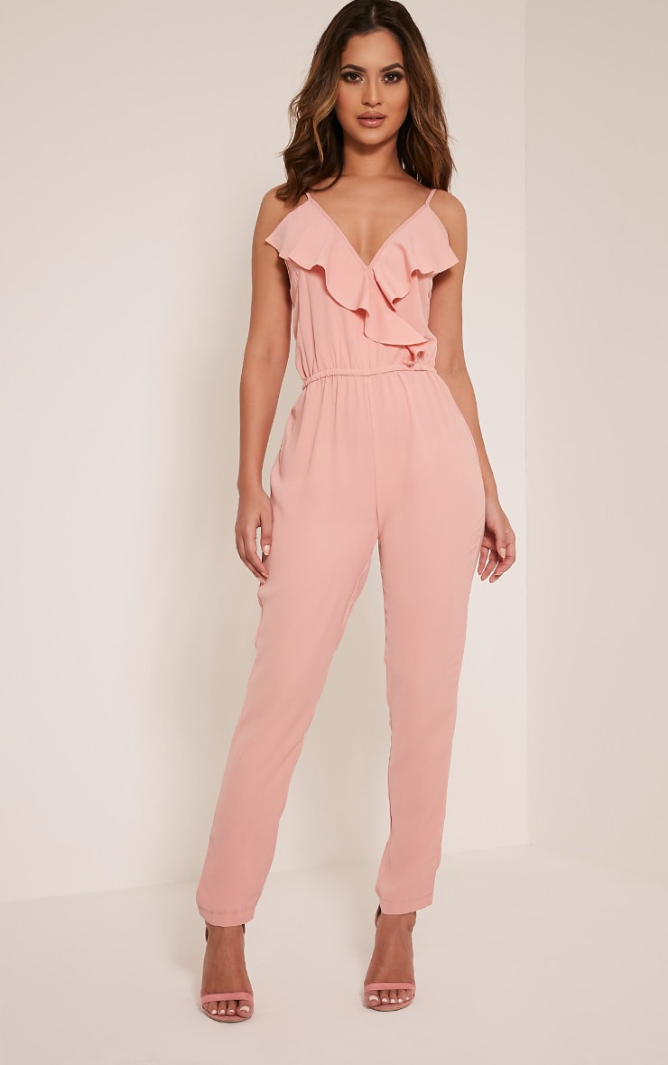 Roslyn Blush Strappy Frill Detail Jumpsuit 1