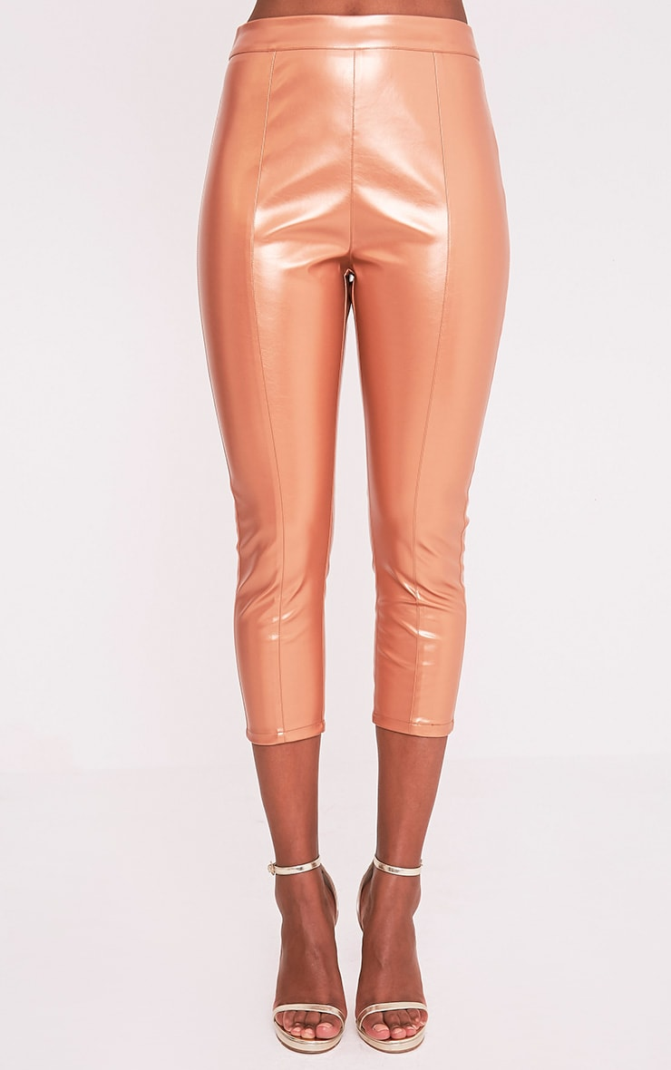 Daysha Bronze Cropped Leather Trousers 3