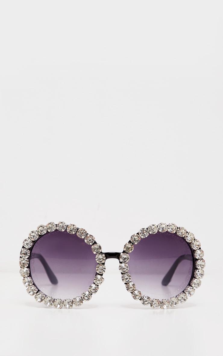 Black Round Crystal Border Sunglasses 2