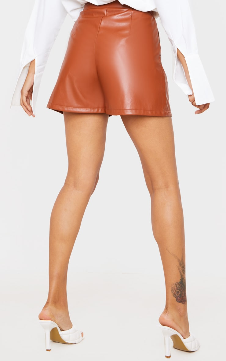 Tan Faux Leather Tailored Shorts 4